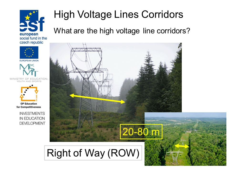 High Voltage Lines Corridors What are the high voltage line corridors? 20-80 m Right of Way (ROW)