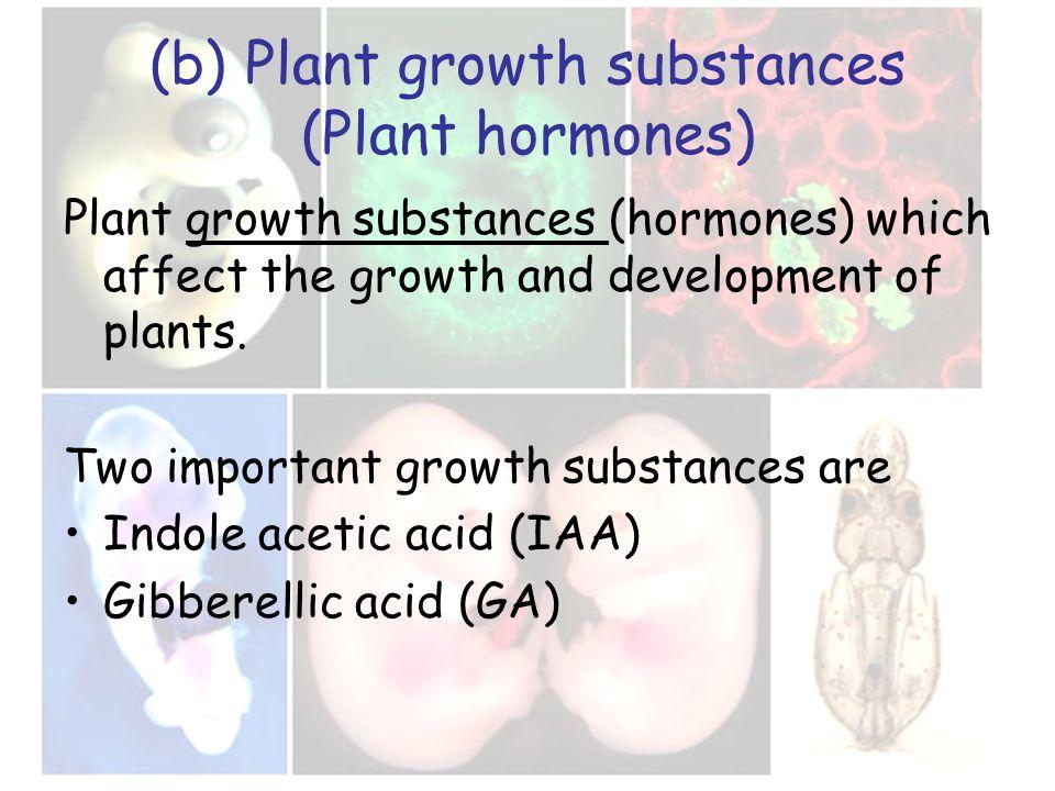 (b) Plant growth substances (Plant hormones) Plant growth substances (hormones) which affect the growth and development of plants.