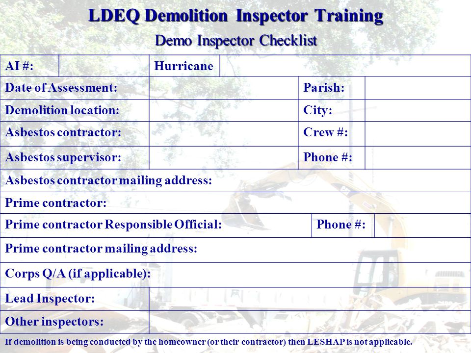 LESHAP Compliant Asbestos Disposal Sites http://www.deq.louisiana.gov/portal/Portals/0/permits/AsbestosandLead/Recognized%2 0Friable%20Asbestos%20Landfills%20Rev%205-24-06.xlshttp://www.deq.louisiana.gov/portal/Portals/0/permits/AsbestosandLead/Recognized%2 0Friable%20Asbestos%20Landfills%20Rev%205-24-06.xlshttp://www.deq.louisiana.gov/portal/Portals/0/permits/AsbestosandLead/Recognized%2 0Friable%20Asbestos%20Landfills%20Rev%205-24-06.xlshttp://www.deq.louisiana.gov/portal/Portals/0/permits/AsbestosandLead/Recognized%2 0Friable%20Asbestos%20Landfills%20Rev%205-24-06.xls In-State Landfills Recognized by Louisiana DEQ to Accept Asbestos Containing Waste Material Disposal Site NameContactPhone NoPhysical Address IESI-LaSalle/Grant Landfill Delaney Lewis (318) 992- 5571 Hwy.