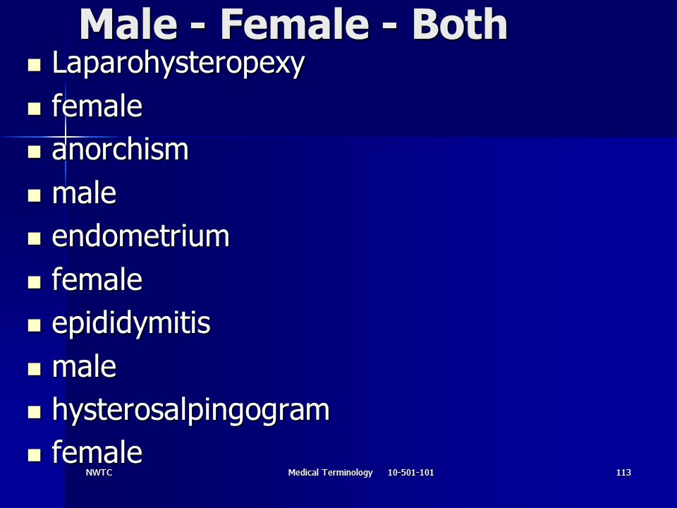 NWTCMedical Terminology 10-501-101113 Male - Female - Both Laparohysteropexy Laparohysteropexy female female anorchism anorchism male male endometrium