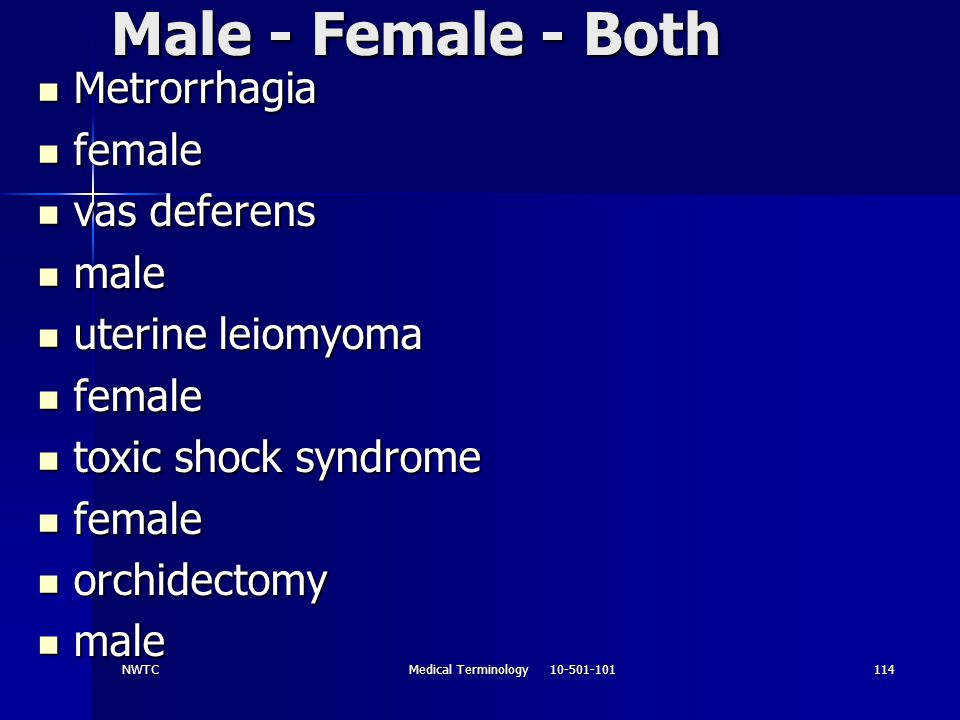 NWTCMedical Terminology 10-501-101114 Male - Female - Both Metrorrhagia Metrorrhagia female female vas deferens vas deferens male male uterine leiomyo