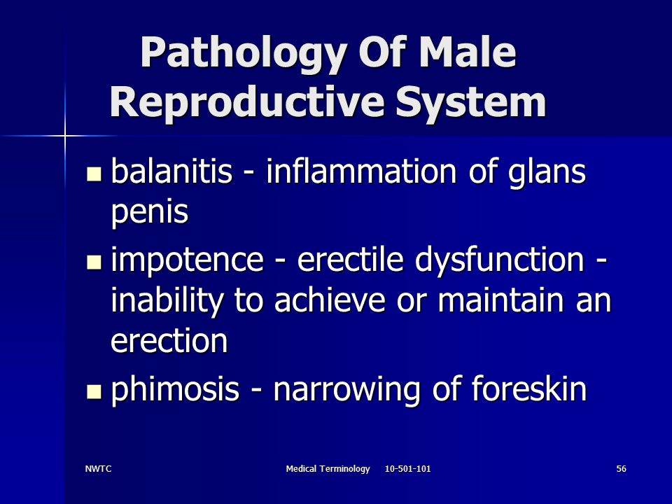 NWTCMedical Terminology 10-501-10156 Pathology Of Male Reproductive System balanitis - inflammation of glans penis balanitis - inflammation of glans p