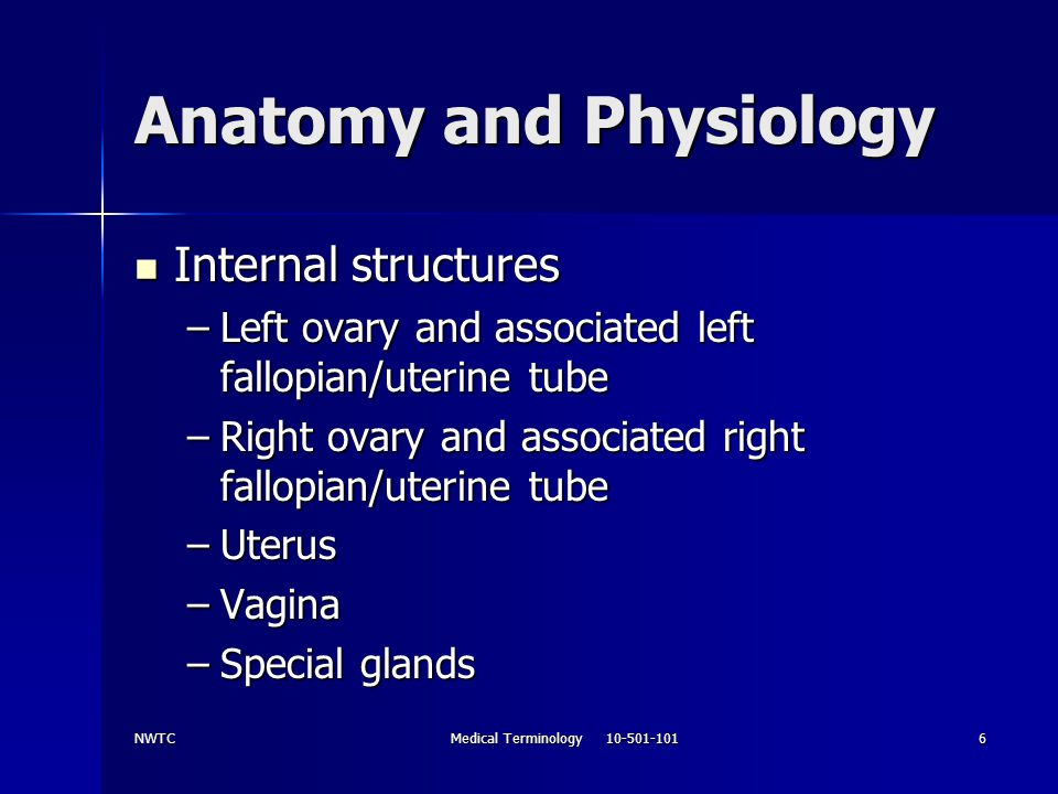 NWTCMedical Terminology 10-501-1017 Anatomy and Physiology Combining word form ovari(o) Combining word form ovari(o) Structure of the ovary Structure of the ovary Suffix –an means Suffix –an means Pertaining to Pertaining to Ovarian means Ovarian means Pertaining to the ovary Pertaining to the ovary Combining word form oophor(o) Combining word form oophor(o) Diagnostic and surgical terms Diagnostic and surgical terms