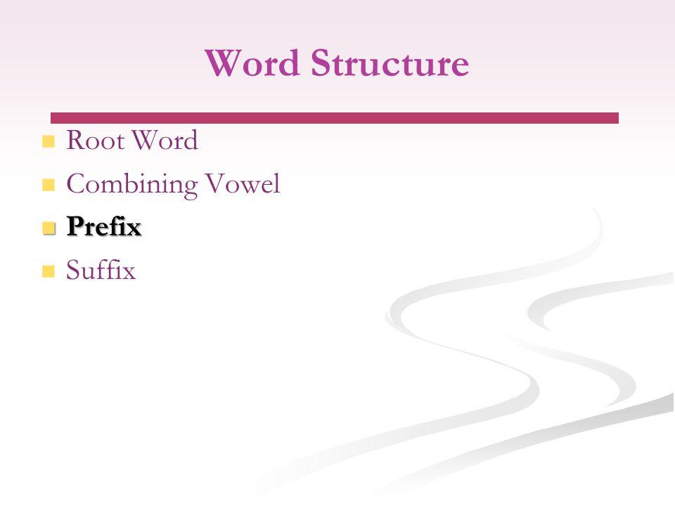 Word Structure Root Word Combining Vowel Prefix Prefix Suffix