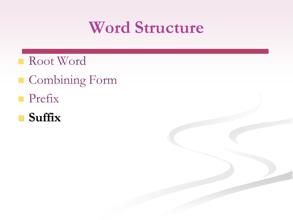 Word Structure Root Word Combining Form Prefix Suffix Suffix