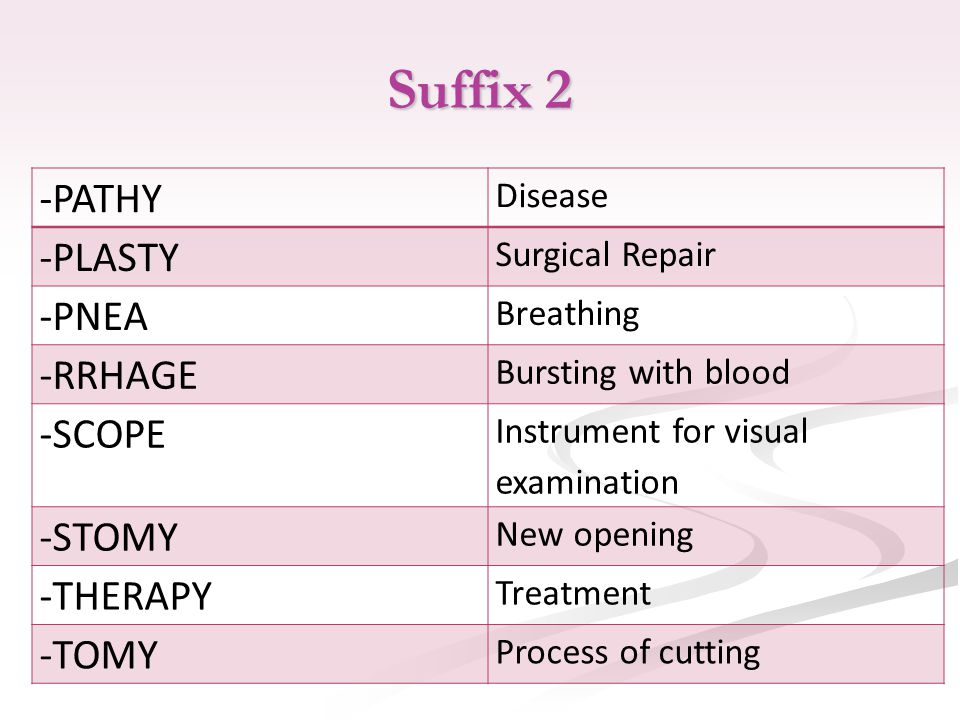 Suffix 2 -PATHY Disease -PLASTY Surgical Repair -PNEA Breathing -RRHAGE Bursting with blood -SCOPE Instrument for visual examination -STOMY New opening -THERAPY Treatment -TOMY Process of cutting