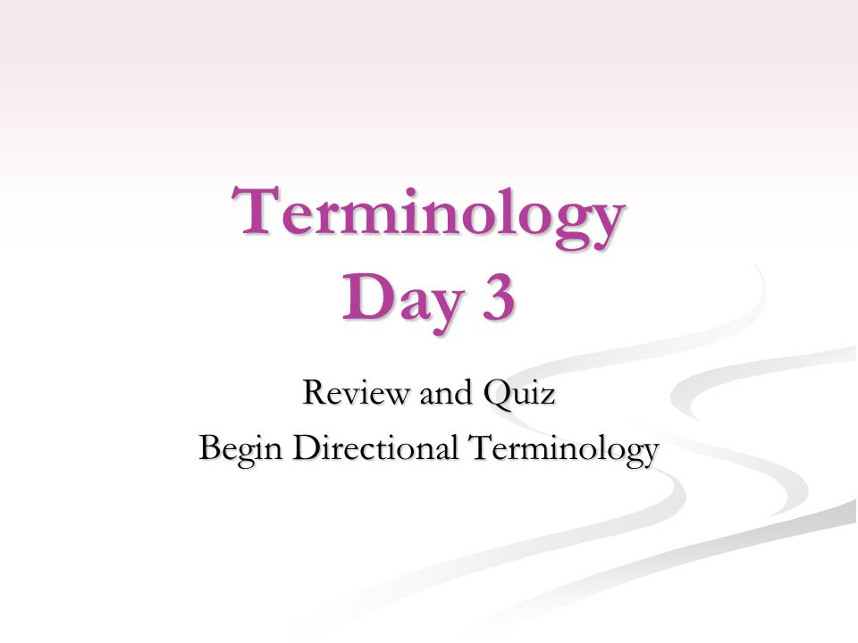 Terminology Day 3 Review and Quiz Begin Directional Terminology