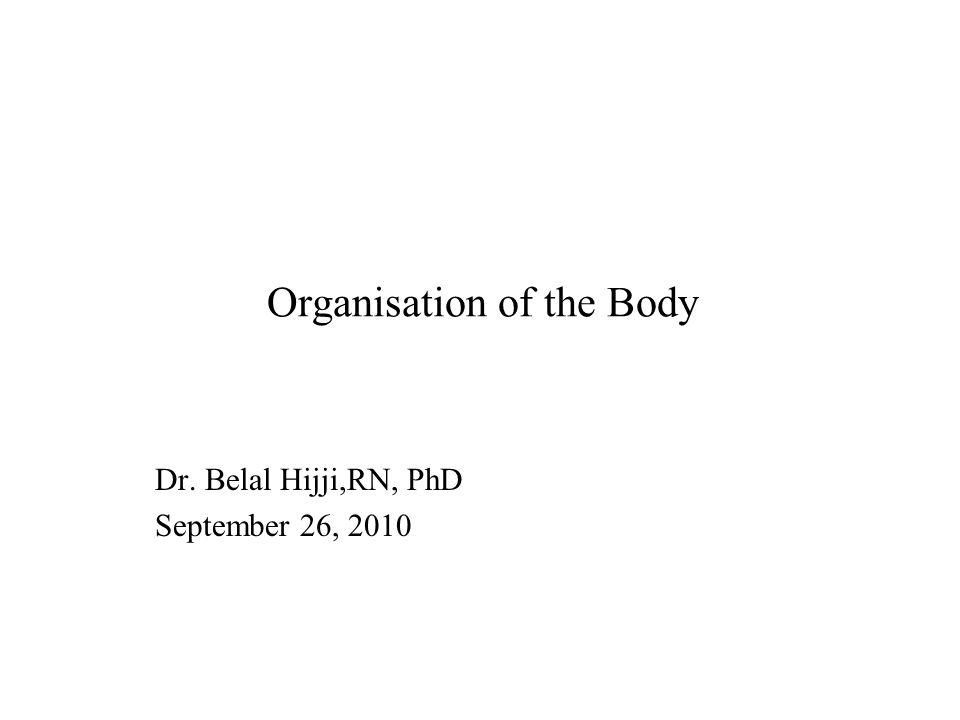Organisation of the Body Dr. Belal Hijji,RN, PhD September 26, 2010