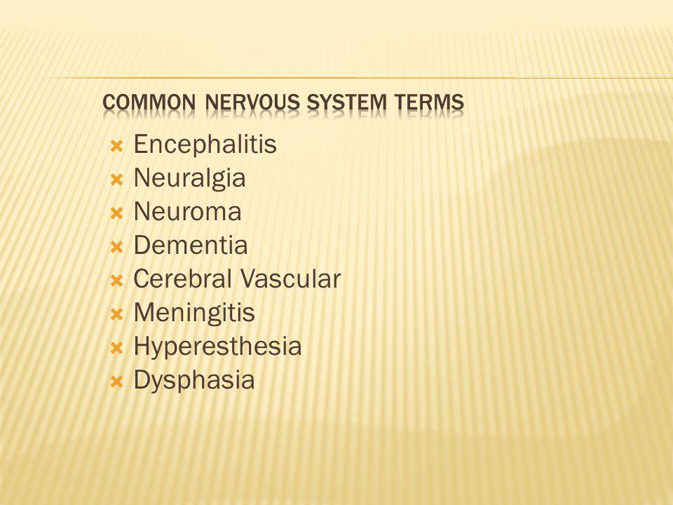  Encephalitis  Neuralgia  Neuroma  Dementia  Cerebral Vascular  Meningitis  Hyperesthesia  Dysphasia