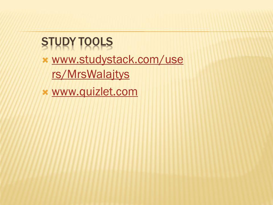 www.studystack.com/use rs/MrsWalajtys www.studystack.com/use rs/MrsWalajtys  www.quizlet.com www.quizlet.com