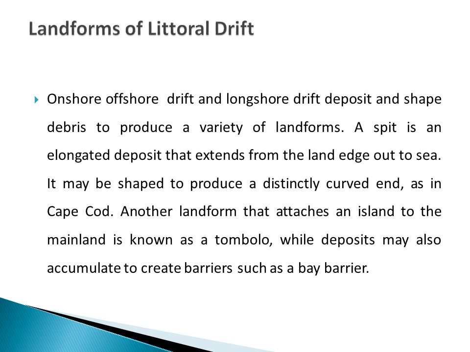  Onshore offshore drift and longshore drift deposit and shape debris to produce a variety of landforms.