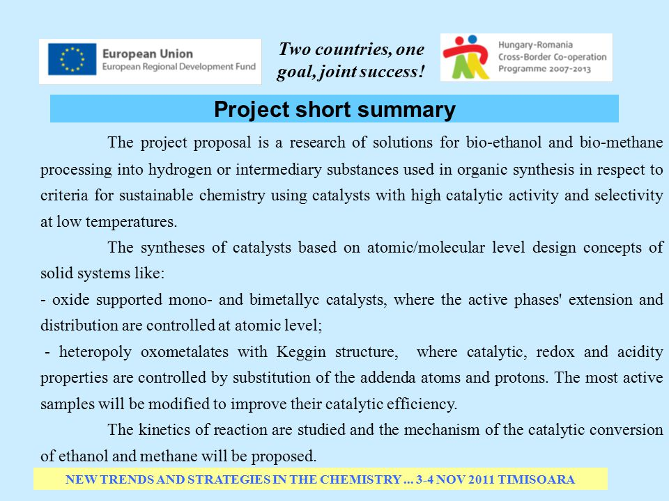 Project short summary NEW TRENDS AND STRATEGIES IN THE CHEMISTRY...
