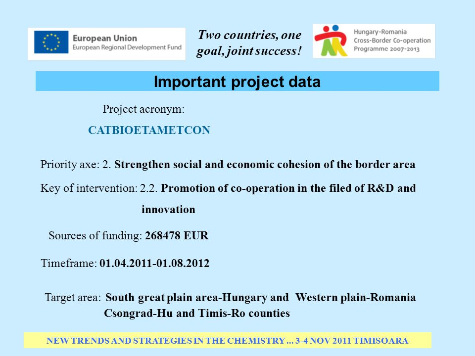 Important project data NEW TRENDS AND STRATEGIES IN THE CHEMISTRY...