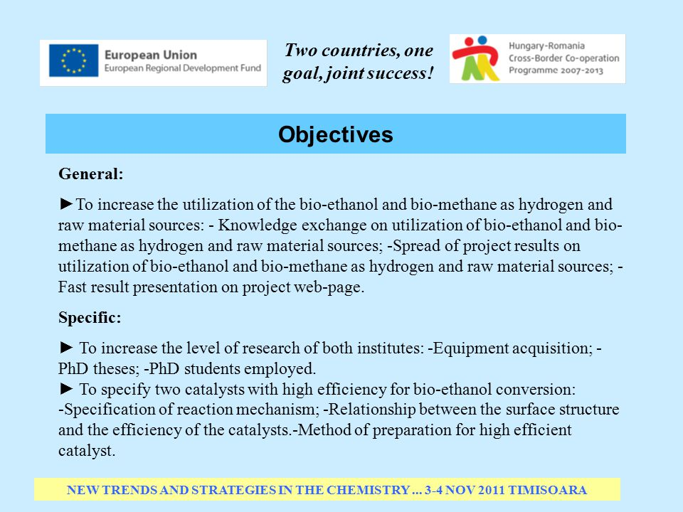 Objectives NEW TRENDS AND STRATEGIES IN THE CHEMISTRY...