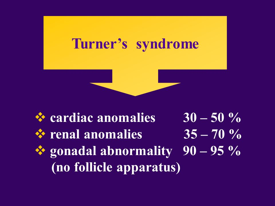 Turner's syndrome  cardiac anomalies 30 – 50 %  renal anomalies 35 – 70 %  gonadal abnormality 90 – 95 % (no follicle apparatus)