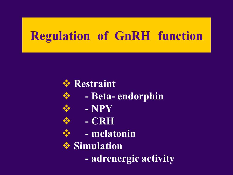Regulation of GnRH function  Restraint  - Beta- endorphin  - NPY  - CRH  - melatonin  Simulation - adrenergic activity