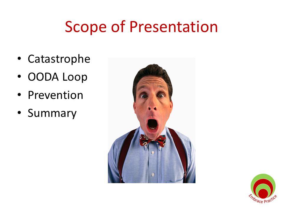 Scope of Presentation Catastrophe OODA Loop Prevention Summary