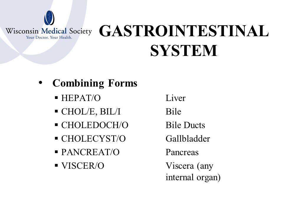 GASTROINTESTINAL SYSTEM Combining Forms  COL/O; COLON/OColon, Large Intestine  CEC/OCecum  APPENDIC/O  APPEND/OAppendix  SIGMOID/OSigmoid Colon  RECT/ORectum  AN/OAnus  PROCT/ORectum & Anus