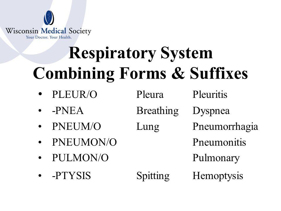 Respiratory System Combining Forms CYAN/OBlueCyanosis OX/OOxygenAnoxia LOB/OLobeLobectomy PECTOR/OChestPectoral THORAC/OThoracic PHREN/ODiaphragmPhrenic