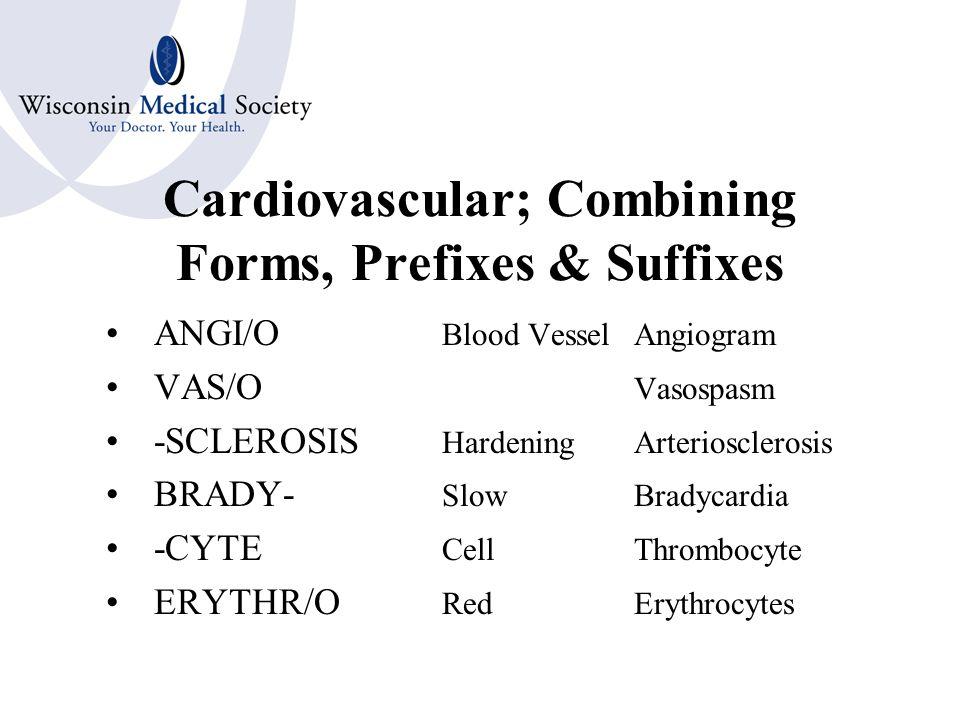 Cardiovascular Combining Forms AORT/OAorta ARTERI/O ARTER/OArtery ARTERIOL/OArteriole VENUL/OVenule VEN/O; PHLEB/OVein