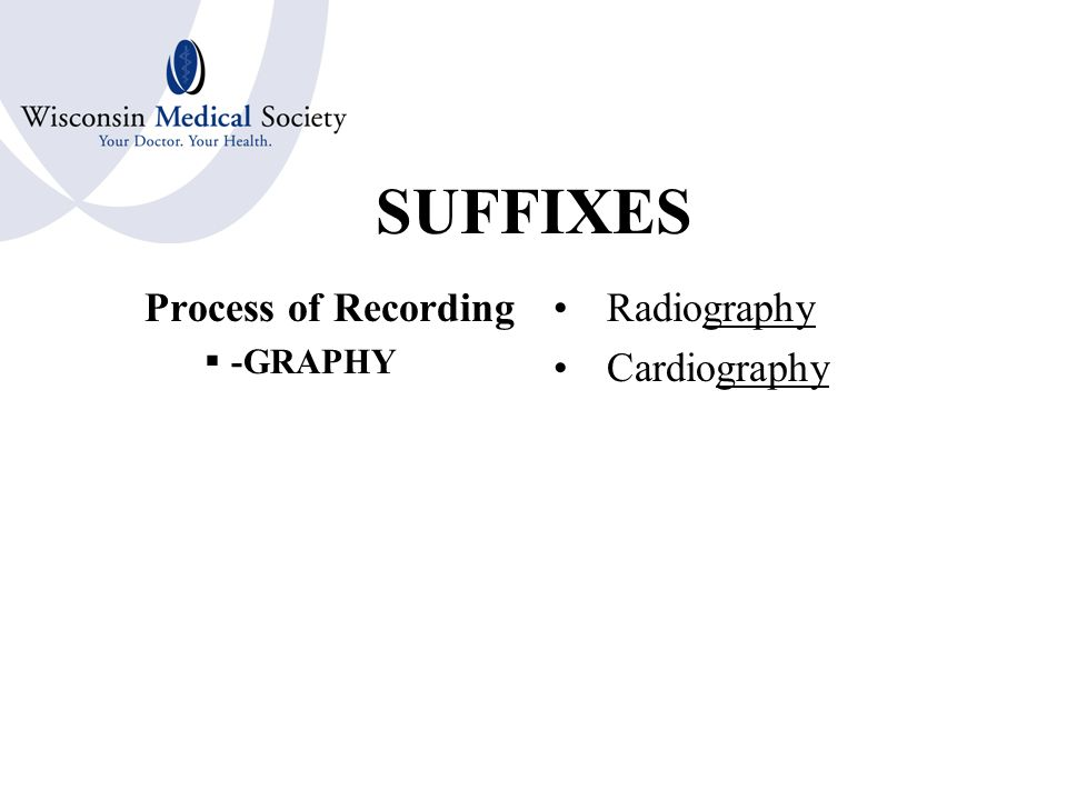SUFFIXES Recording or Tracing  -GRAM Radiogram
