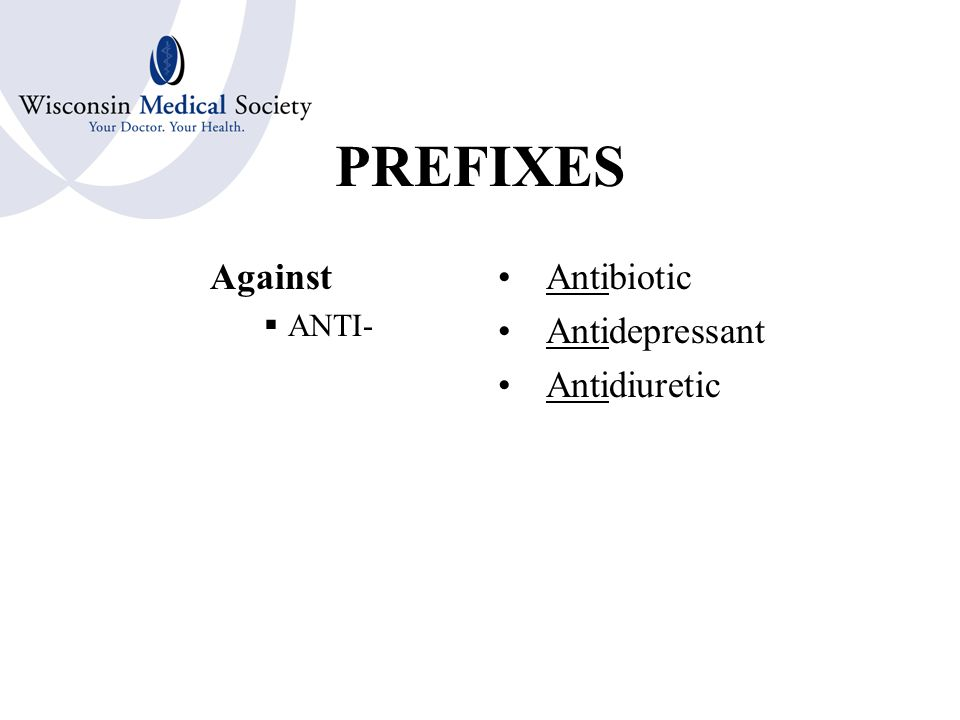 PREFIXES Before  ANTE- Antepartum Anterior Antecedent Anteversion