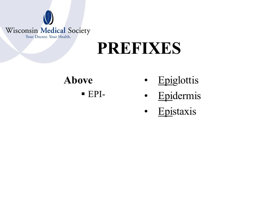 PREFIXES In, Within  EN-  ENDO- Endoscope Encephalitis Endotracheal
