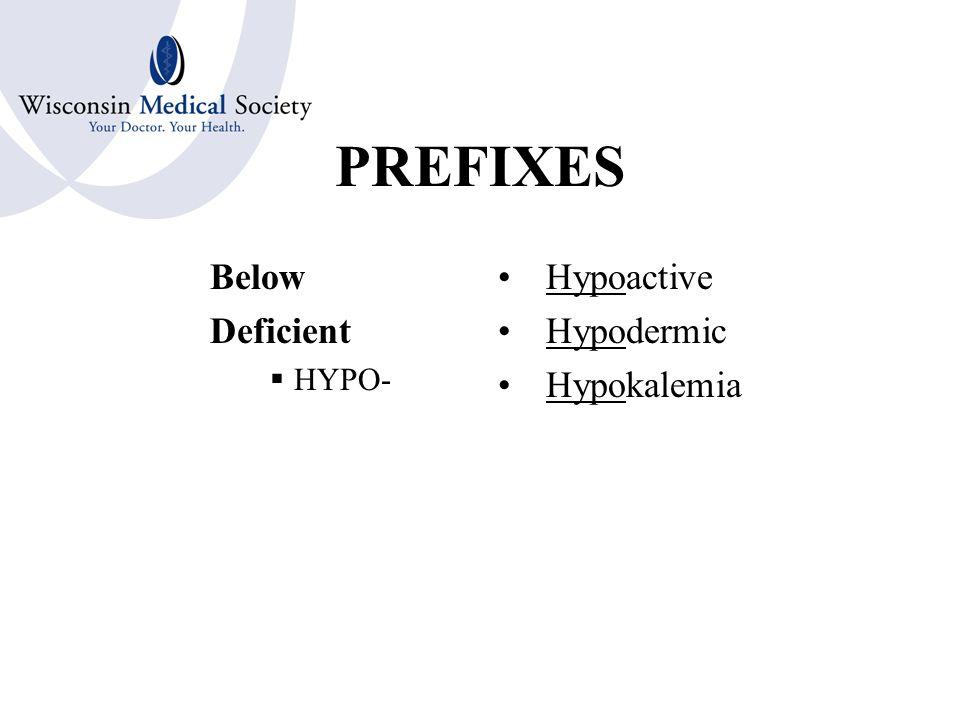 PREFIXES Excessive Above  HYPER- Hyperactive Hyperglycemia Hyperesthesia
