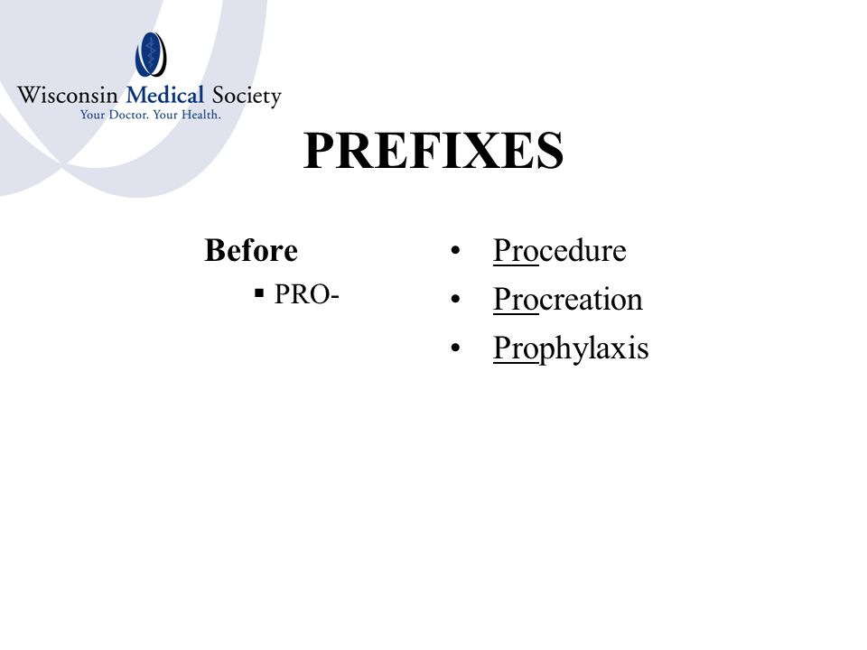 PREFIXES After Behind in Time or Place  POST- Postnatal Postoperative Postmortem