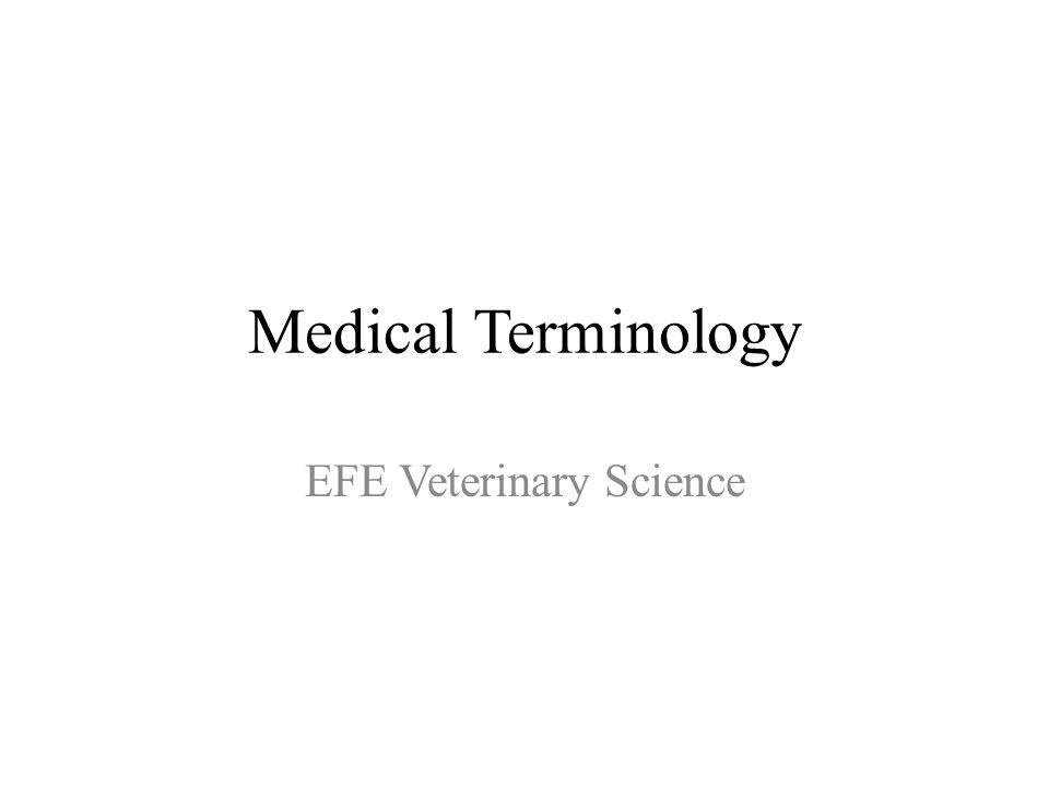Medical Terminology EFE Veterinary Science