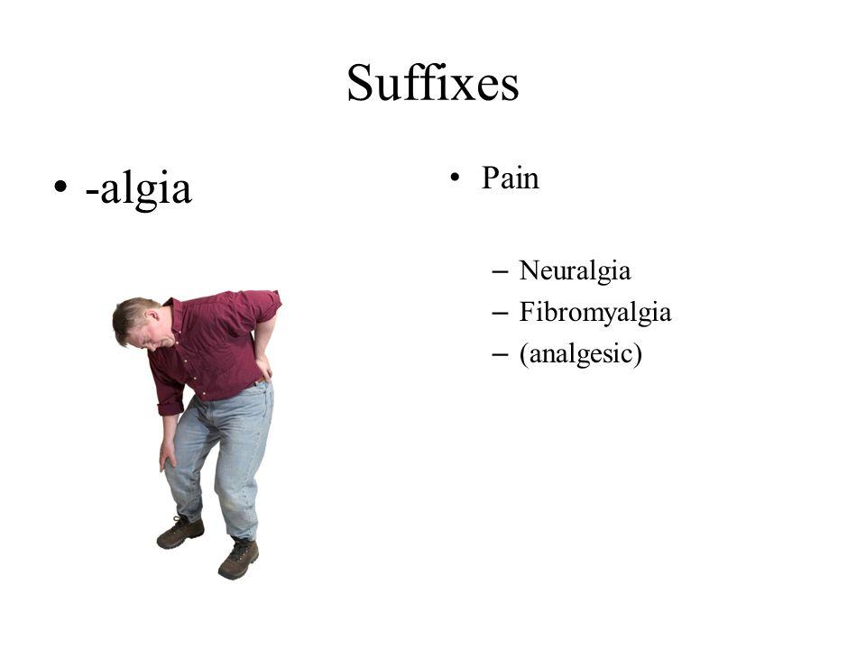 Suffixes -algia Pain – Neuralgia – Fibromyalgia – (analgesic)