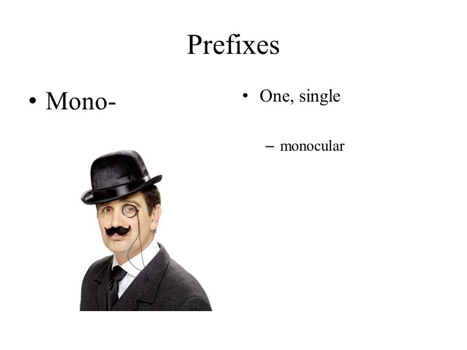 Prefixes Mono- One, single – monocular