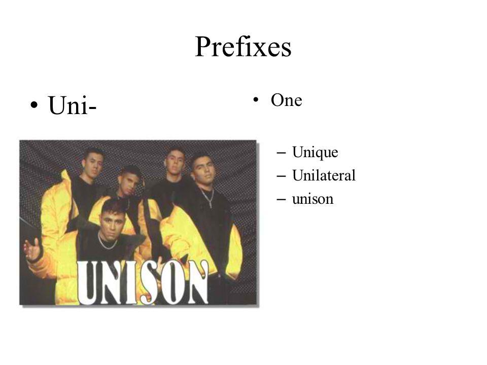 Prefixes Uni- One – Unique – Unilateral – unison