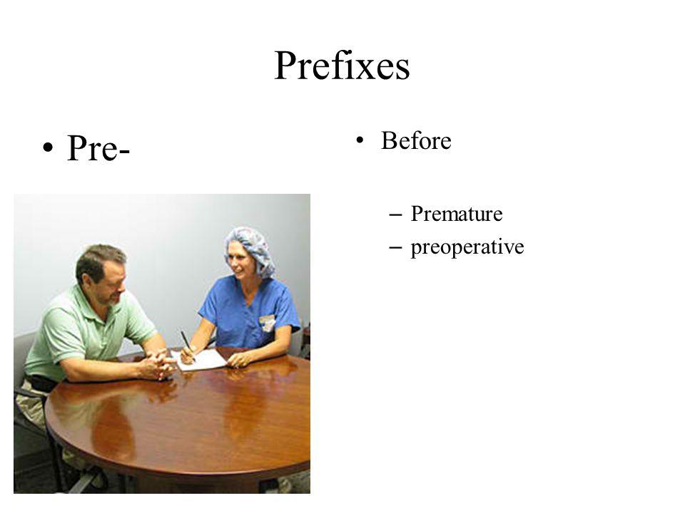 Prefixes Pre- Before – Premature – preoperative
