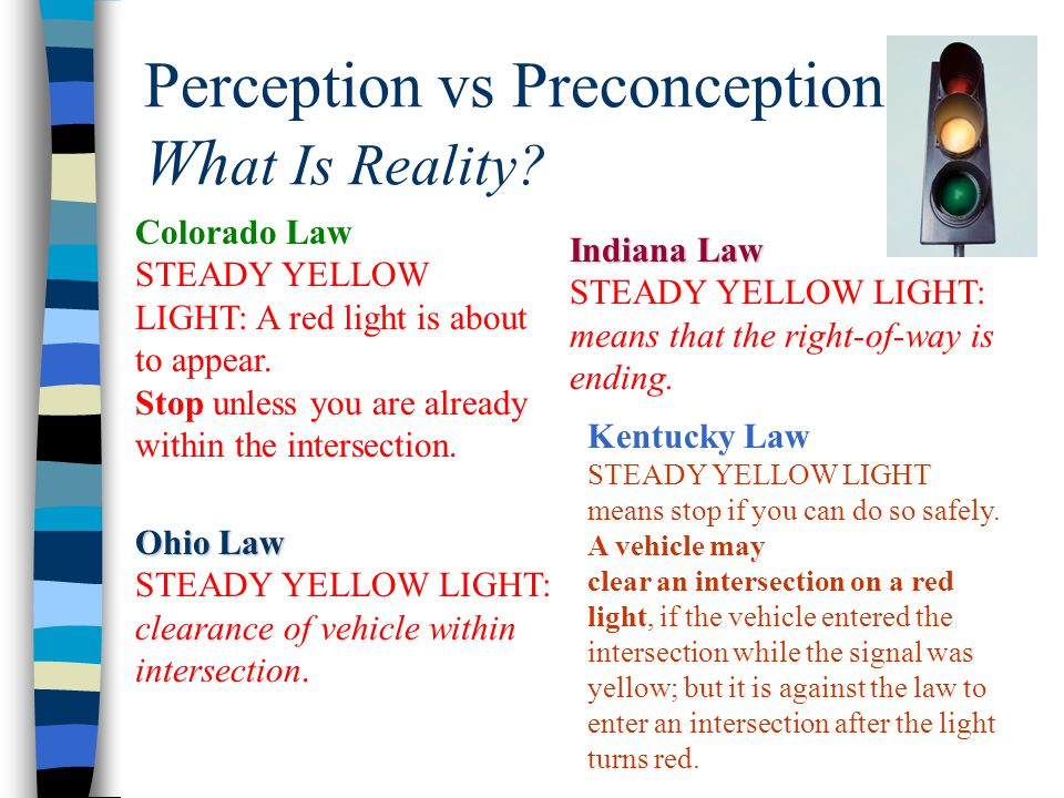 Perception vs Preconception: Wh at Is Reality? Colorado Law STEADY YELLOW LIGHT: A red light is about to appear. Stop unless you are already within th