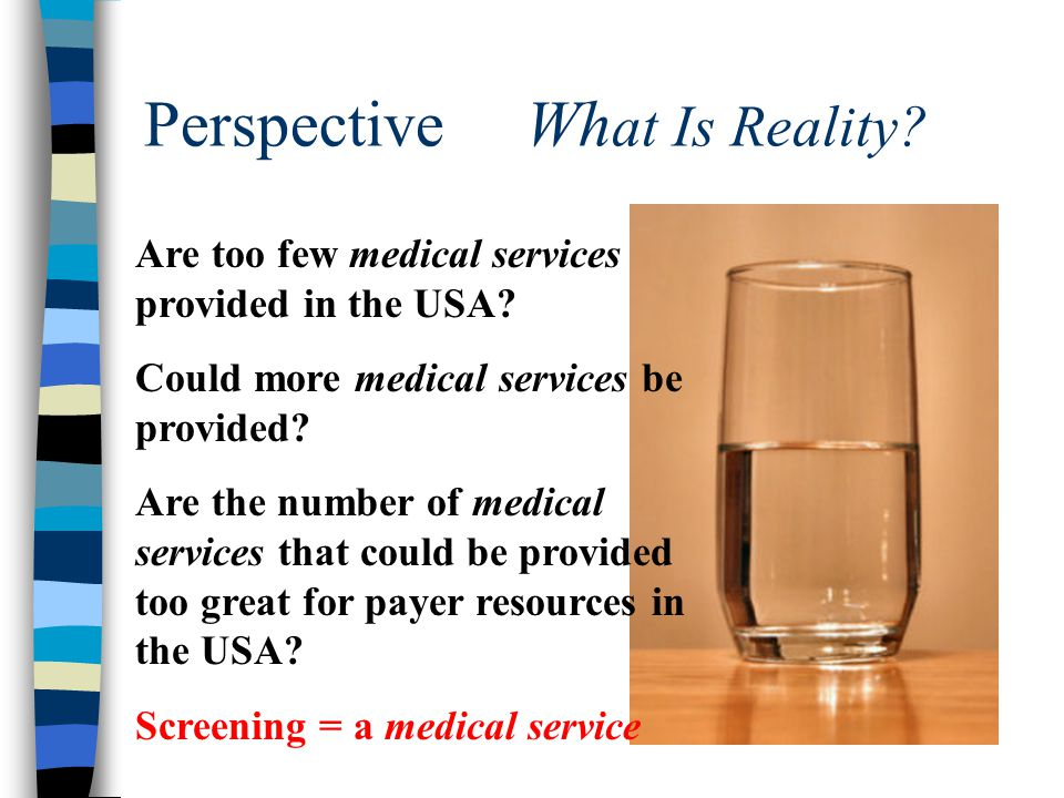 Perspective Wh at Is Reality. Are too few medical services provided in the USA.