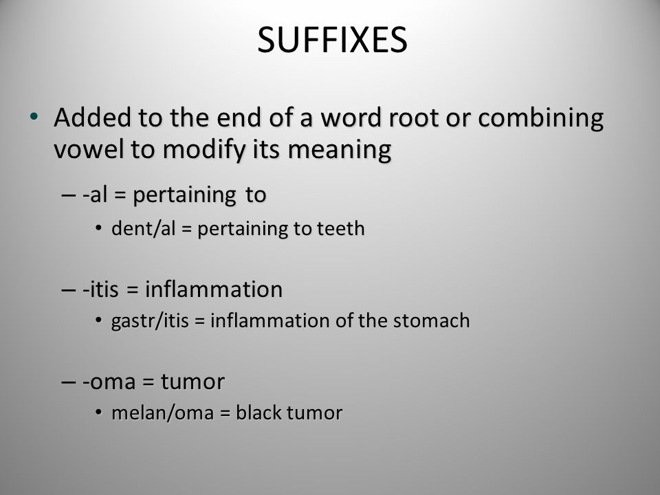 SUFFIXES Added to the end of a word root or combining vowel to modify its meaning Added to the end of a word root or combining vowel to modify its mea