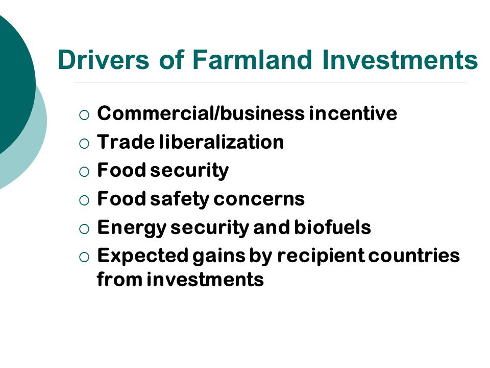Drivers of Farmland Investments  Commercial/business incentive  Trade liberalization  Food security  Food safety concerns  Energy security and biofuels  Expected gains by recipient countries from investments