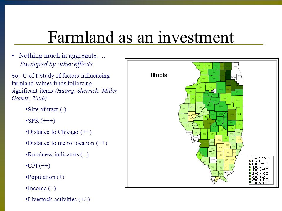Farmland as an investment Nothing much in aggregate….