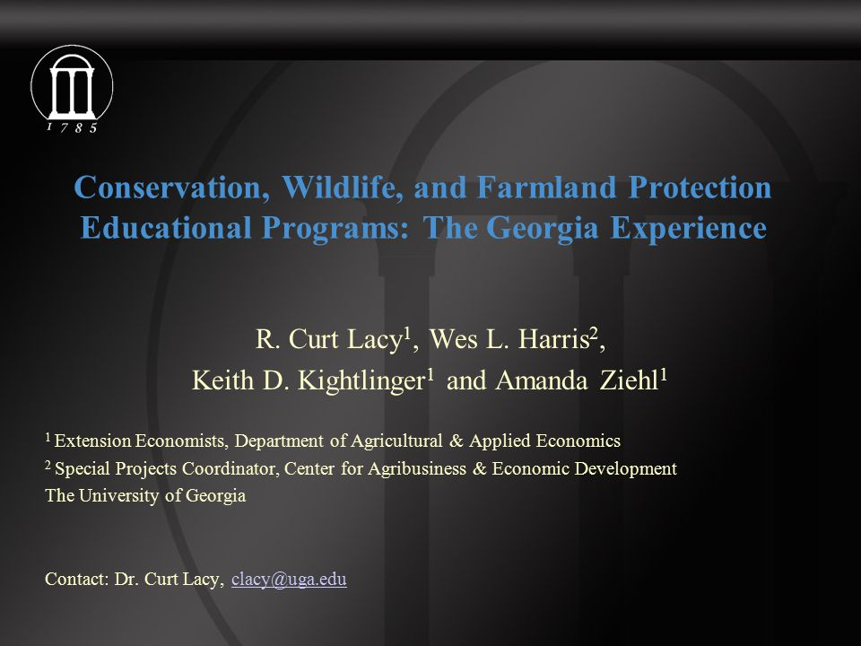 Conservation, Wildlife, and Farmland Protection Educational Programs: The Georgia Experience R.