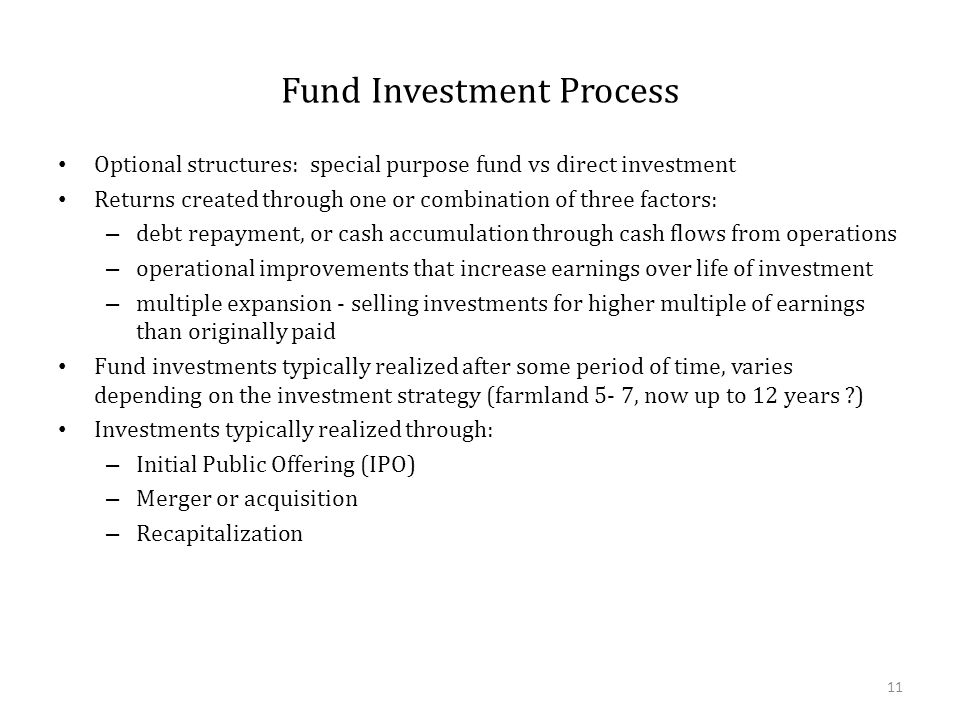 Fund Investment Process Optional structures: special purpose fund vs direct investment Returns created through one or combination of three factors: –
