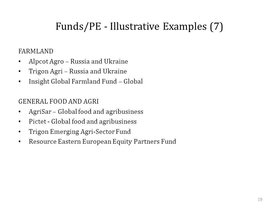 Funds/PE - Illustrative Examples (7) FARMLAND Alpcot Agro – Russia and Ukraine Trigon Agri – Russia and Ukraine Insight Global Farmland Fund – Global