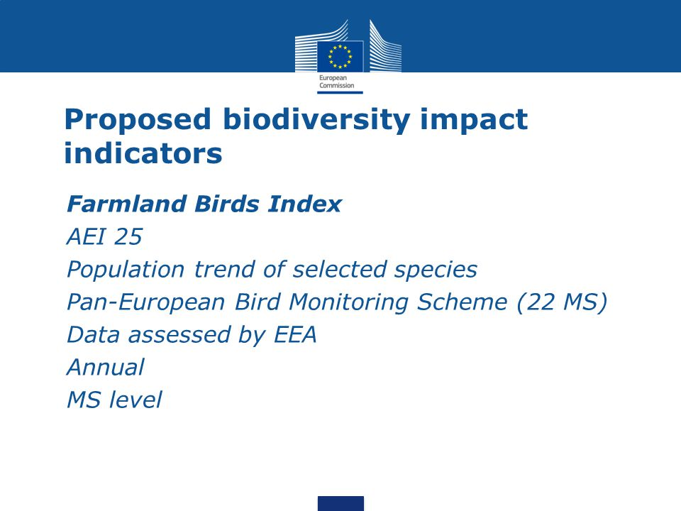 Proposed biodiversity impact indicators Farmland Birds Index AEI 25 Population trend of selected species Pan-European Bird Monitoring Scheme (22 MS) D