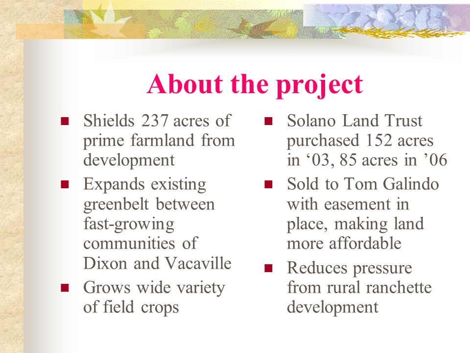 About the project Shields 237 acres of prime farmland from development Expands existing greenbelt between fast-growing communities of Dixon and Vacaville Grows wide variety of field crops Solano Land Trust purchased 152 acres in '03, 85 acres in '06 Sold to Tom Galindo with easement in place, making land more affordable Reduces pressure from rural ranchette development