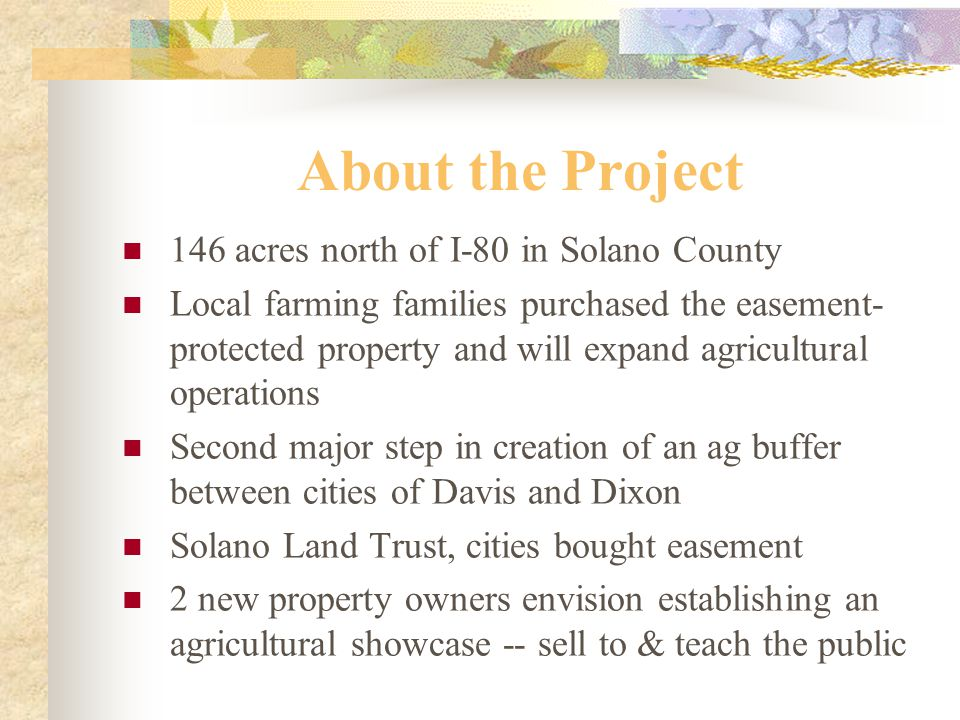 About the Project 146 acres north of I-80 in Solano County Local farming families purchased the easement- protected property and will expand agricultural operations Second major step in creation of an ag buffer between cities of Davis and Dixon Solano Land Trust, cities bought easement 2 new property owners envision establishing an agricultural showcase -- sell to & teach the public