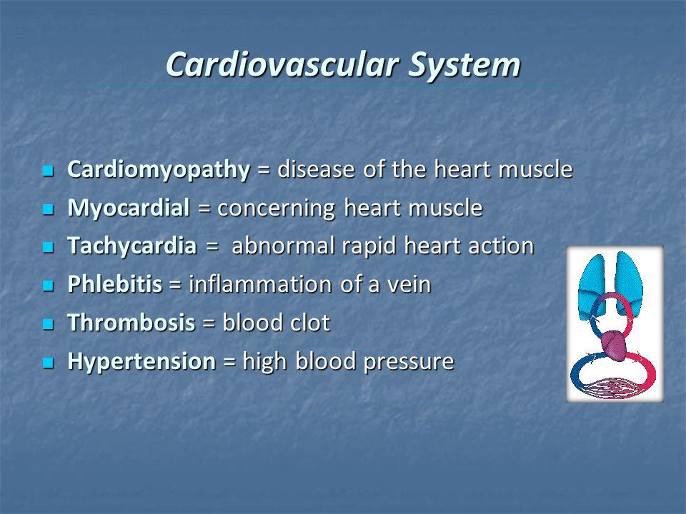 Cardiovascular System Cardiomyopathy = disease of the heart muscle Cardiomyopathy = disease of the heart muscle Myocardial = concerning heart muscle M