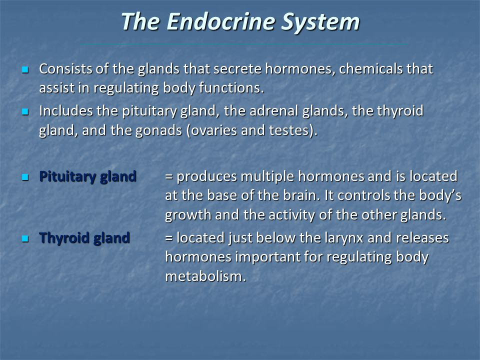 The Endocrine System Consists of the glands that secrete hormones, chemicals that assist in regulating body functions.