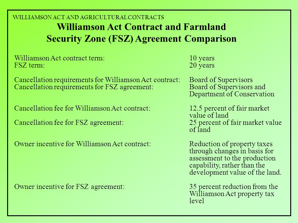 Williamson Act Contract and Farmland Security Zone (FSZ) Agreement Comparison Williamson Act contract term:10 years FSZ term:20 years Cancellation requirements for Williamson Act contract:Board of Supervisors Cancellation requirements for FSZ agreement:Board of Supervisors and Department of Conservation Cancellation fee for Williamson Act contract:12.5 percent of fair market value of land Cancellation fee for FSZ agreement:25 percent of fair market value of land Owner incentive for Williamson Act contract:Reduction of property taxes through changes in basis for assessment to the production capability, rather than the development value of the land.