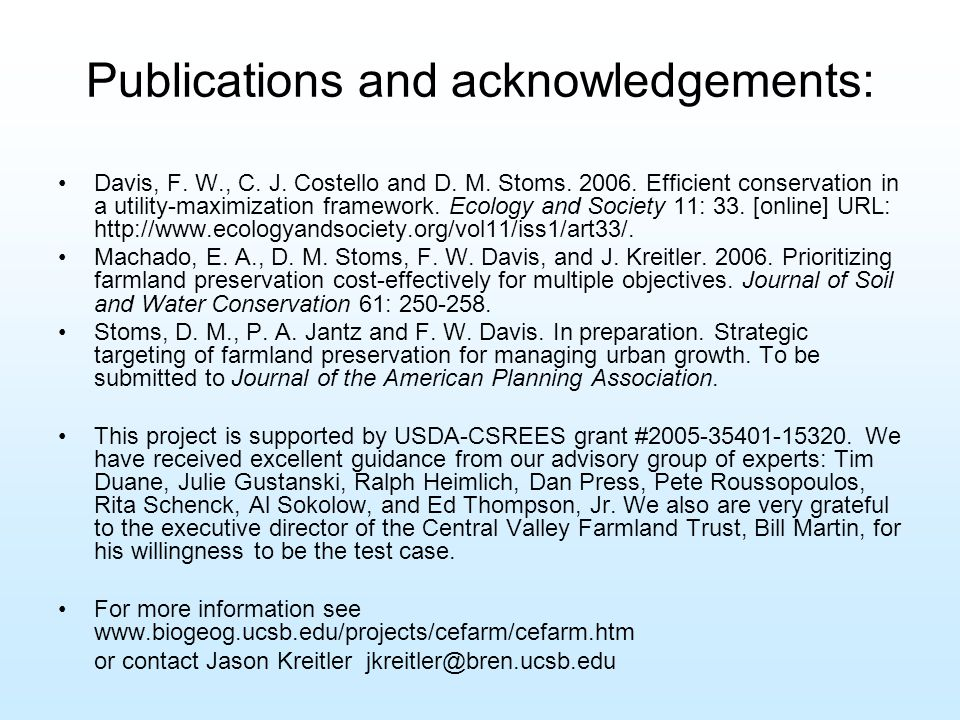 Publications and acknowledgements: Davis, F. W., C.