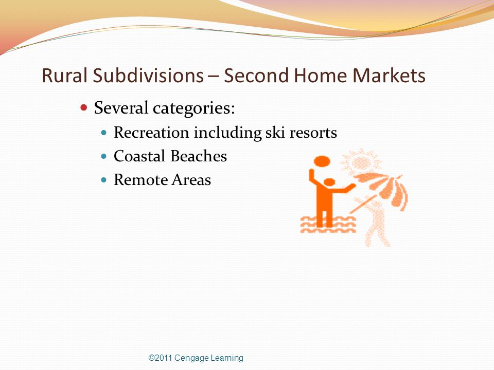 Rural Subdivisions – Second Home Markets Several categories: Recreation including ski resorts Coastal Beaches Remote Areas ©2011 Cengage Learning